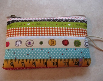 mini sewing kit with sewing print padded zipper pouch