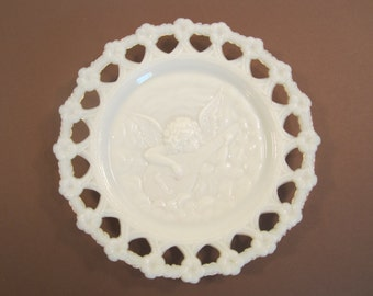 Antique Milk Glass Plate Cherub Mandolin Reticulated Decorative Wall Hanging