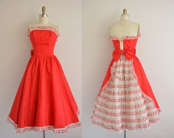vintage 1950s dress / 50s party dress / 1950s red ruffle dress
