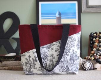 Handmade Canvas Tote Bag - Toile Tote Geometric Tote