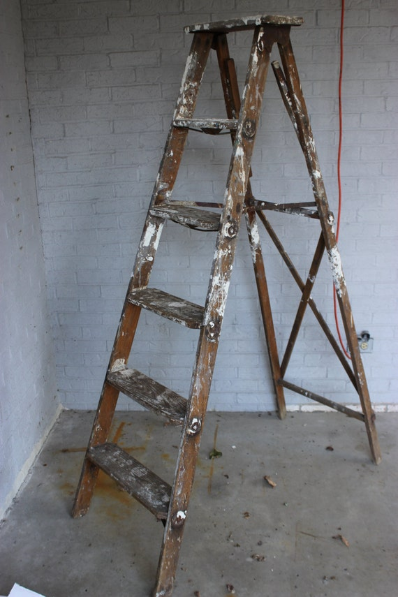 Vintage Antique Wood Painters Step Ladder