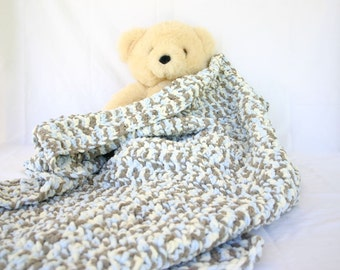 Crochet baby blanket soft brown cream blue afghan thick bulky crib nursery decor off white small infant boy throw home decor washable