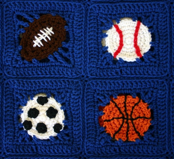 Sports Balls Afghan PDF Crochet PATTERN Basketball