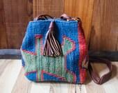 1970's . Klim . Woven . Wool & Leather . Handbag . Purse . Large