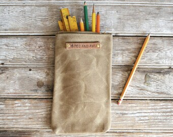 Waxed Canvas Scribbler Pouch in Tumbleweed, Accessories Cases, Waxed Canvas Bag, Pencil Case, Cosmetic Case, Makeup Bag, Zipper Pouch