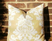 SALE ~ Decorative Pillow Cover: Large Damask Pale Yellow and White Designer 18 X 18 Pillow Cover