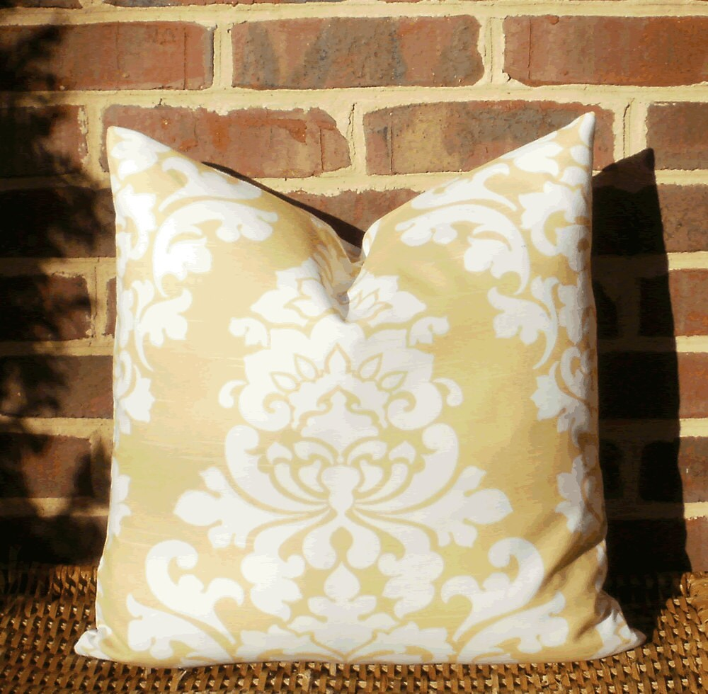 Large Yellow Throw Pillow : SALE Decorative Pillow Cover: Large Damask Pale Yellow and
