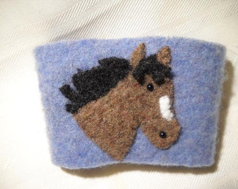Brown Horse Felted Wool Coffee Cozy