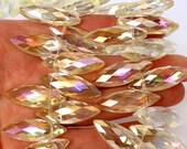 10pcs Large 30mm Golden Lemon AB Top Drilled designer crystal glass spindle marquise briolette drop Beads faceted semi-transparent