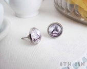 Antique Silver All Seeing Eye of Providence Cameo Stud Earrings