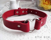 Red Leather Heart Ring Choker, Red Heart Choker, Red Leather Choker, Valentine's Gift, Valentine Choker, Red Heart Ring Choker, Creepy Cute