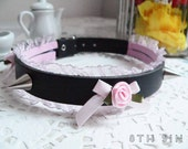 Black & Pink Rose, Lace and Spike Stud Choker, Rose Spike Choker, Rose Lace Choker, Lace Spike Choker, Pink Rose Choker, Pink Lace Choker