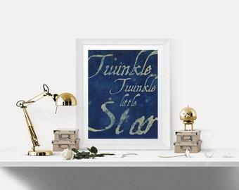 Twinkle Twinkle Little Star Print - Digital Download - Children's Lullaby Nursery Art
