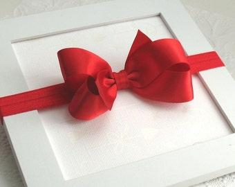 Baby Christmas Headband, Red Satin Hair Bow, Red Bow Headband, Baby Headband, Red Satin Hair Bow Headband, Infant Headband