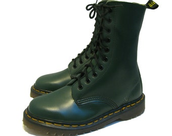 Vintage Dr Martens Boots From England Green Leather 10 Eyelet Doc Martens DM Combat Ranger Sole Boots Fits Wms US Size 6