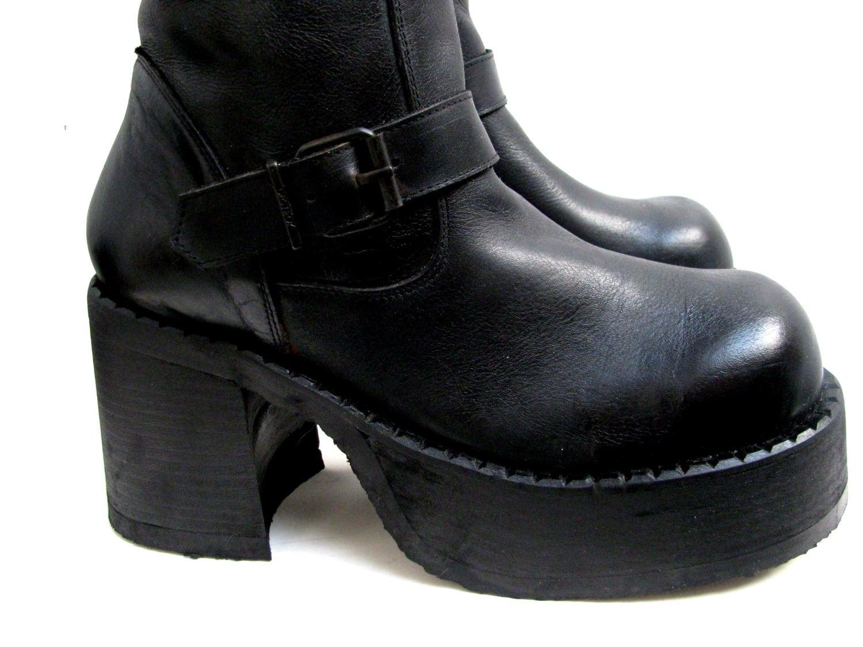 Mens Platform Motorcycle Boots Vintage Knee High Black