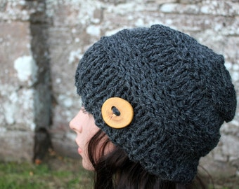 HAT knitted chunky - Big softie hat in dark grey, winter hat, womens gift, UK