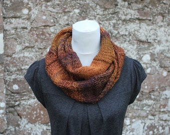 SCARF chunky womens brown - Autumn rust infinity loop scarf, vegan knitwear, gift for her