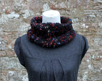 SNOOD knitted cowl - The liquorice snood, neckwarmer womens gift