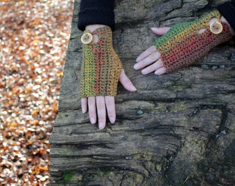 FINGERLESS GLOVES, Comfy mittens in the shades of autumn with buttons, knitwear UK, gift ideas