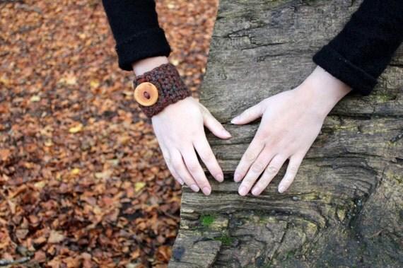 Crochet dark multicolour wrist cuff/bracelet with stunning wooden button