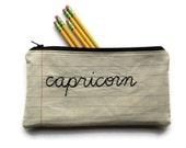 Zodiac Sign - Capricorn - Notebook Paper Fabric - Handmade Pencil Case