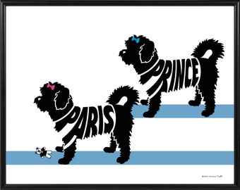 Personalized Pair of Shorthaired Maltese Silhouette Print,11x14 Framed Dog Art