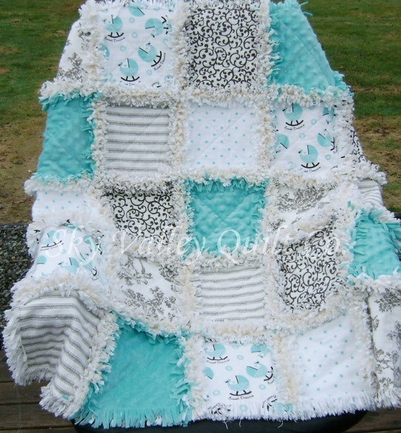 Pre Cut Rag Quilt Kit Or Layer Cake Aqua Brown And Beige