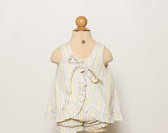 vintage 80s baby girl's striped top and bloomers set