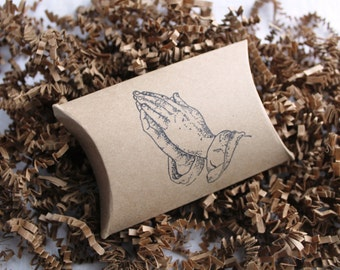 12 Praying Hands stamped kraft pillow boxes- usable inside dimensions- 3.5 x 3 x 1 inches