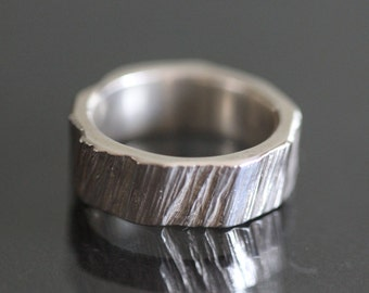 Texture! - Sterling Silver Statement Ring - size 5.5 - Hand Carved - One of a Kind