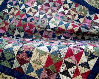 Handmade quilts, hourglass patchwork quilt, traditional quilt, lap quilt