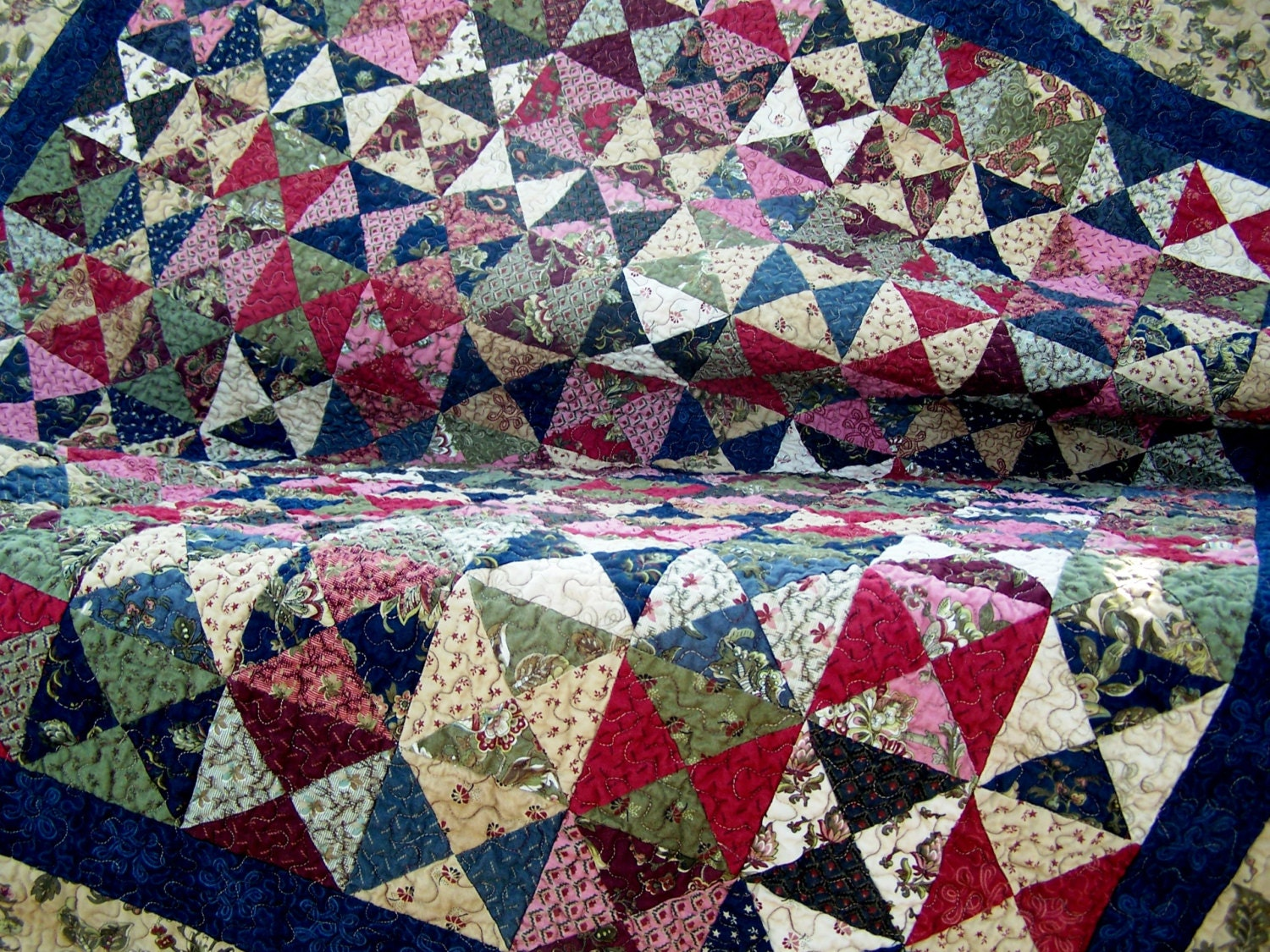 Handmade Quilts Hourglass Patchwork Quilt Traditional Quilt