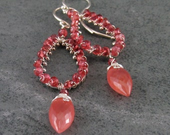 Red spinel, rhodocrosite earrings, handmade sterling silver teardrop earrings-OOAK