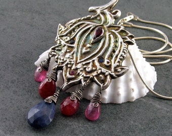 Paisley lotus pendant, handmade eco friendly fine silver, ruby, sapphire necklace-Bollywood OOAK