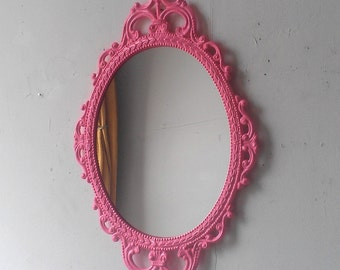 Pink Wall Mirror in Hand Painted Vintage Metal 17x12 Frame, Pink Girls Room or Nursery, Small Bathroom, Decorative Oval Framed Mirror