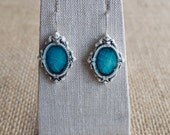 Porcelain Jewelry, Victorian Mirror Earrings in Antique turquoise crackle glaze by Mrs Peterson Pottery