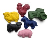 CRAYONS All Natural ECO Friendly Kids Handmade Soy CRAYONS Farm Animals (Set of 6)Eco Toy, Gift for Kids, Birthday, Party Favor, Earth Day