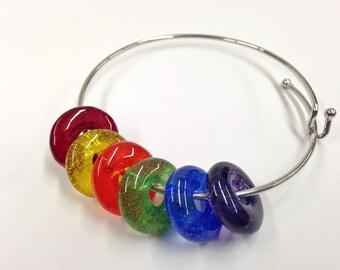 ROYGBIV Gift, Pride Valentine Gift, Bangle, Pride Bracelet, ART Teacher Gift, Artist Gift, Fused Glass Rainbow Beads