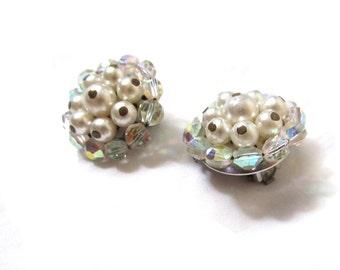 vintage earrings 50s clip ons bead cluster beaded pearl aurora rhinestone 1950s jewelry