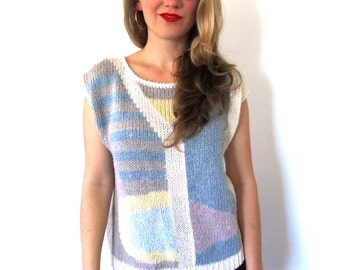 SALE vintage sweater 80's pastel abstract women's clothing 1980's sleeveless geometric size medium m