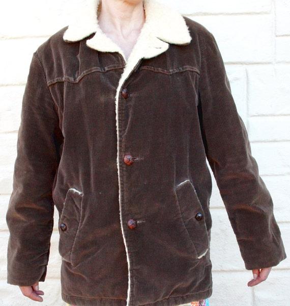 Vintage 70s Wrangler Mens Corduroy Winter Jacket