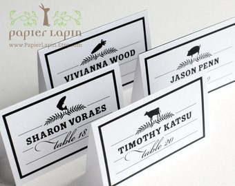 Food icon place cards / Set of 45 / Black & white, monogram on back / Timeless classic / Dinner reception