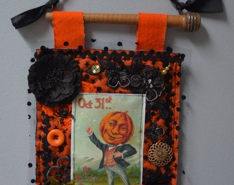 Shabby, Cottage Chic Halloween Fabric Collage.  ECS.
