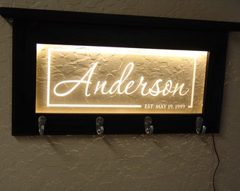 Wooden Key rack holder with  personalized name and established date ( or whatever you want)  in center can be LED lit
