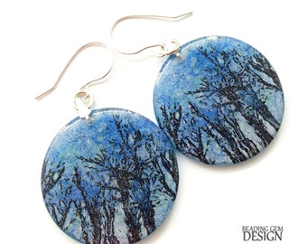 Blue Skies with Trees Photo Art Resin Earrings