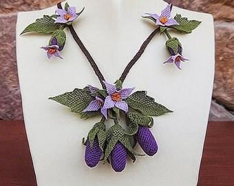Necklace,Plum,Crochet Necklace,veggie Necklace, Eggplant Necklace,Violet Necklace,Statement Necklace, crochet,bib