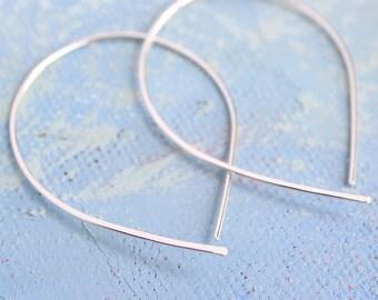 Open Silver Hoop Earrings - Silver Hoop Earing - thin hoop earrings, inverted hoops, silver teardrop hoop earrings, thin hoops