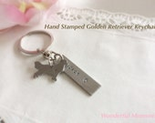 Hand Stamped Golden Retriever Keychain Personalized With Name