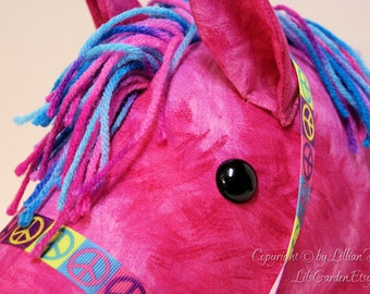 Stick Horse Head, Hot Pink with Multi Blue, Pink & Purple Mane, MADE to ORDER, With or Without Stick